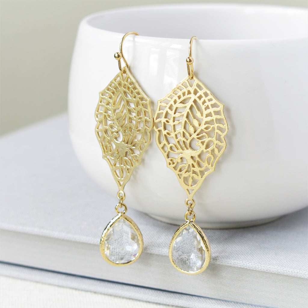 Gold Paisley Filigree Crystal Drop Earrings