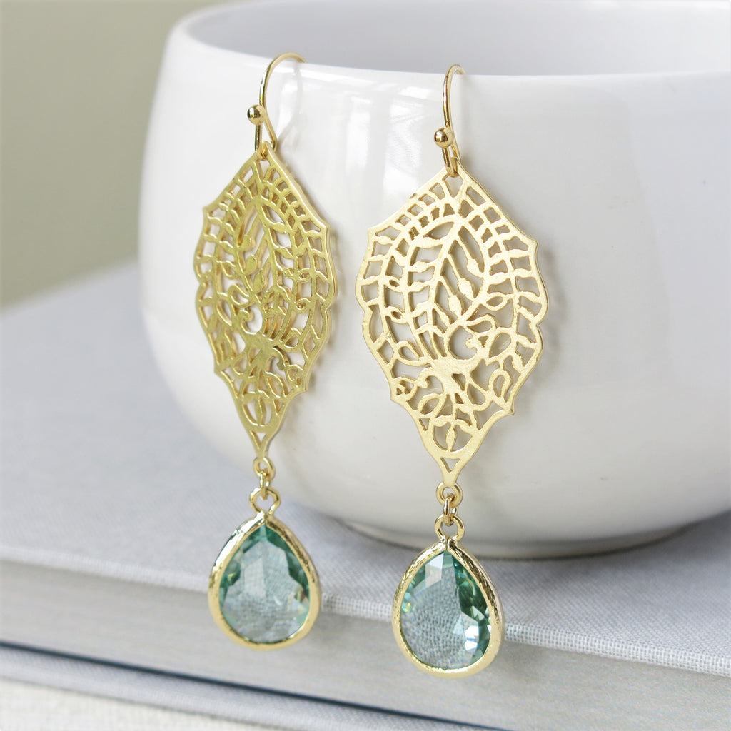 Gold Paisley Filigree Prasiolite Drop Earrings