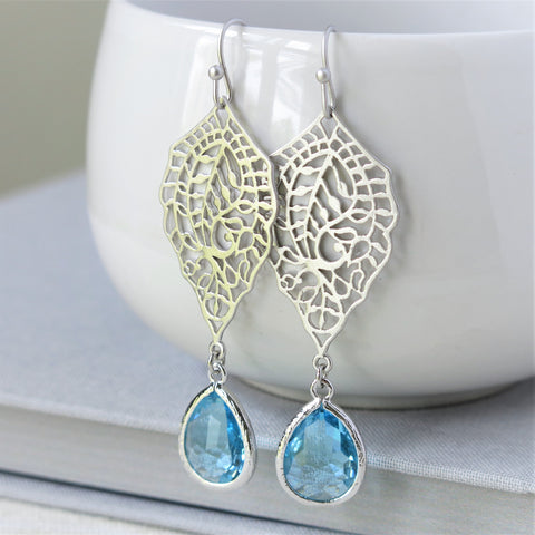 Silver Paisley Filigree Aquamarine Drop Earrings