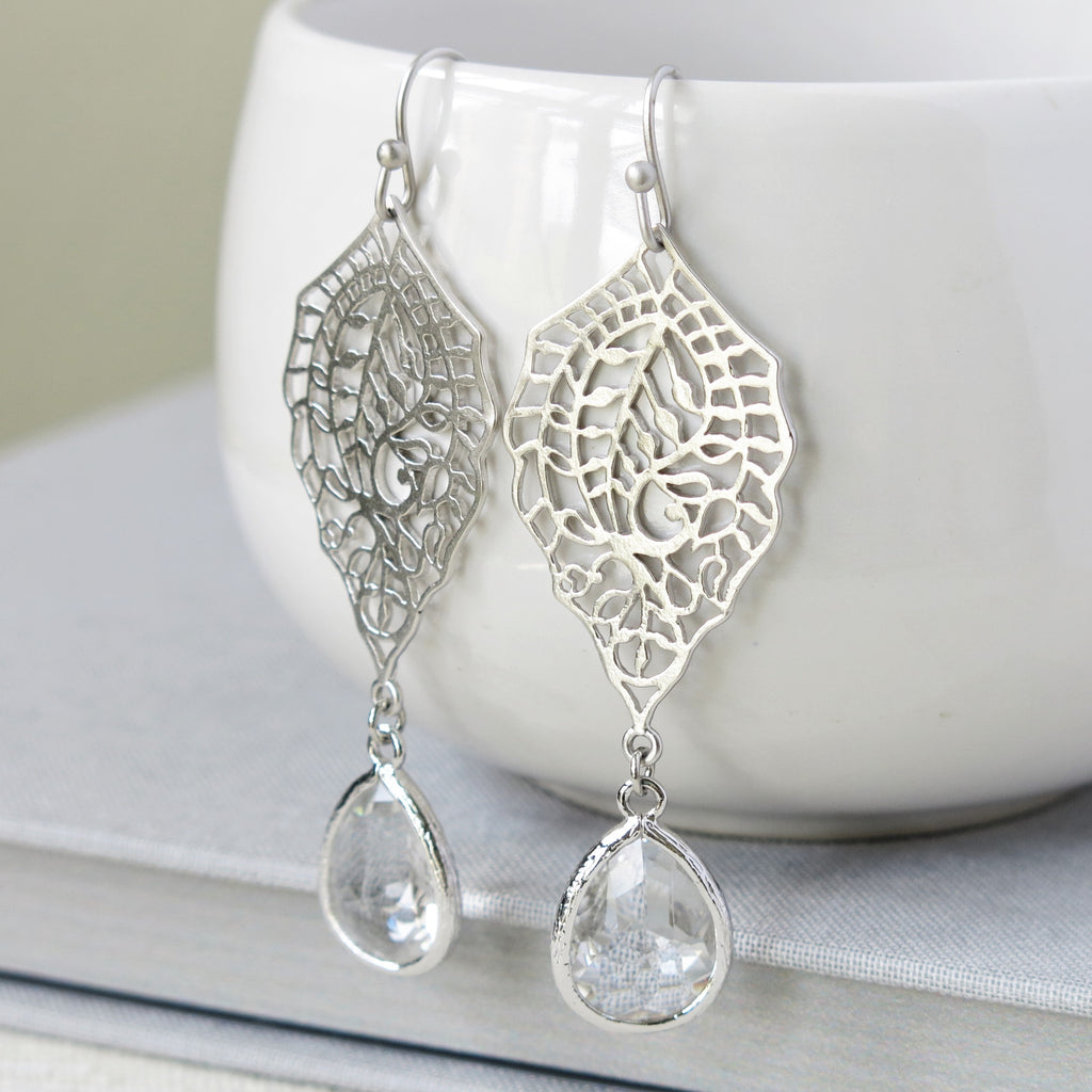 Silver Paisley Filigree Crystal Drop Earrings