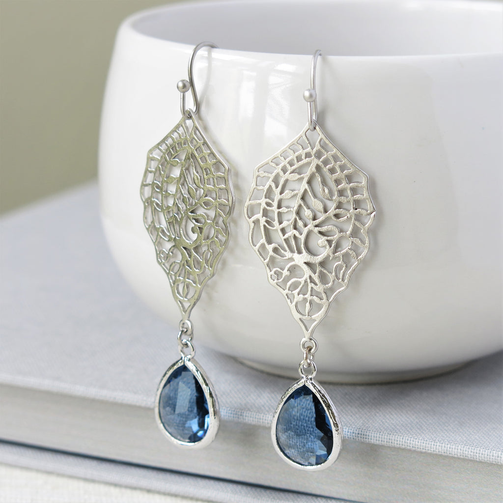 Silver Paisley Filigree Sapphire Blue Drop Earrings