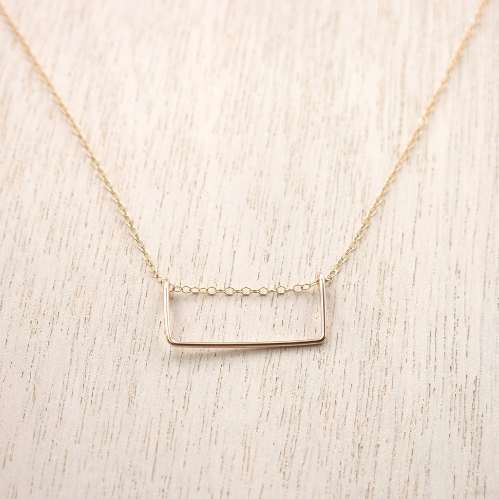 Rectangle Gold Bar Necklace - 1 inch