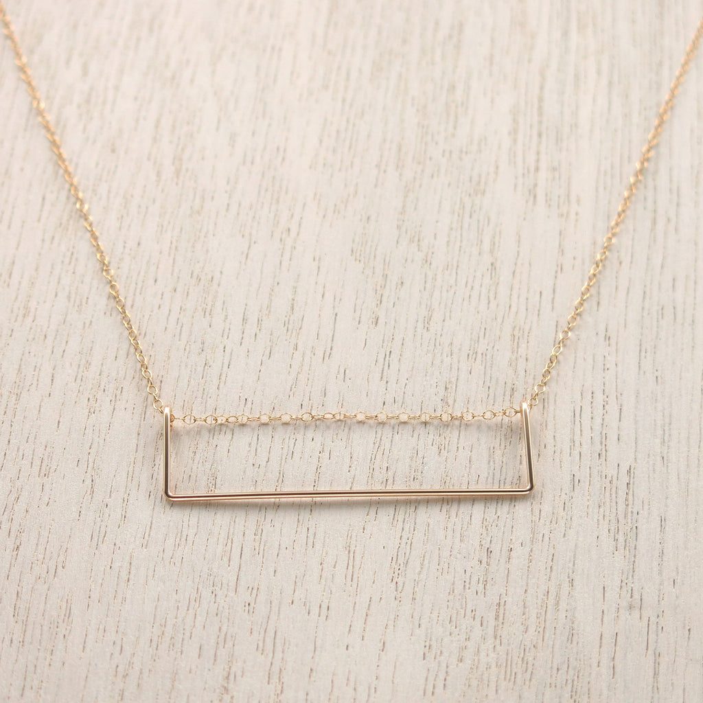 Rectangle Gold Bar Necklace - 2 inch