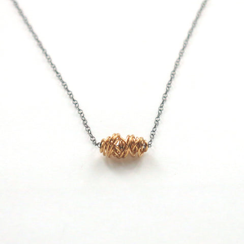 SIMPLI . Mixed Metal Tiny Necklace (gold on black)
