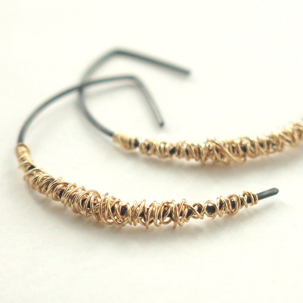 SIMPLI . Mixed Metal Half Hoops
