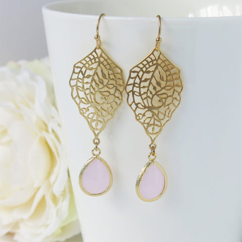 Gold Paisley Filigree Ice Pink Drop Earrings