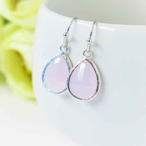 Ice Pink Silver Drop Earrings #2