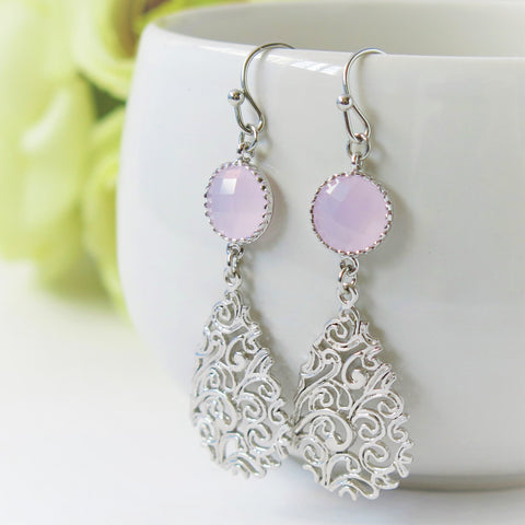 Ice Pink Silver Paisley Teardrop Earrings