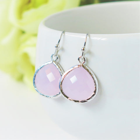 Ice Pink Silver Drop Earrings #1