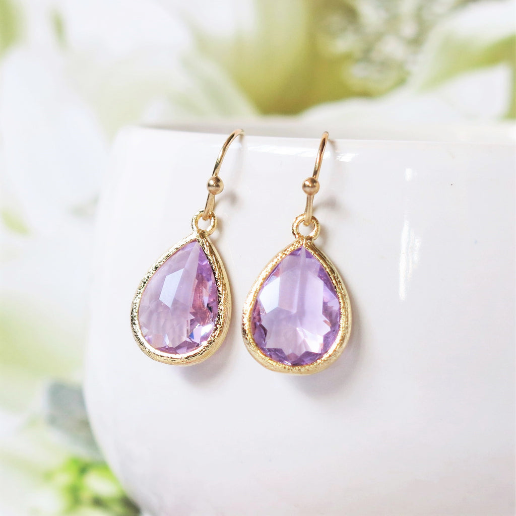 Lavender Gold Drop Earrings #2