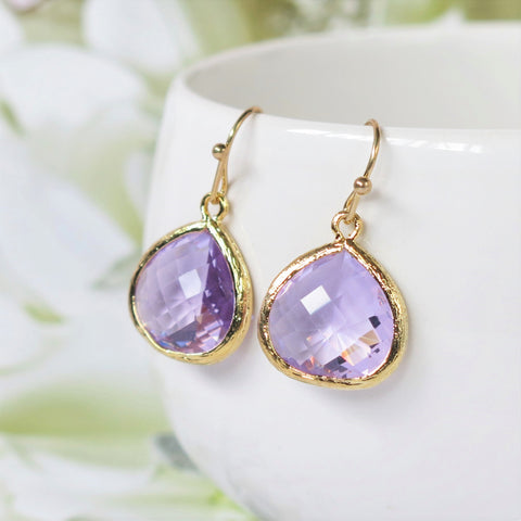 Lavender Gold Drop Earrings #1