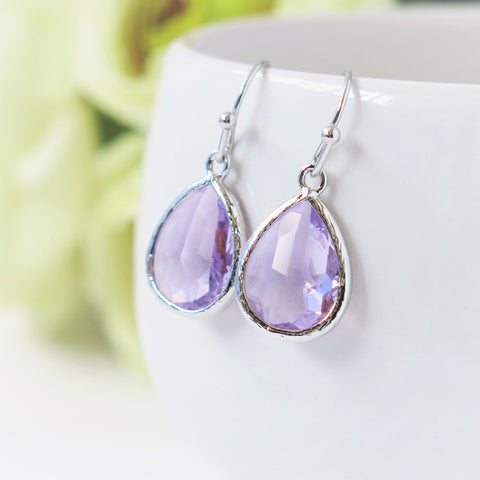 Lavender Silver Drop Earrings #2