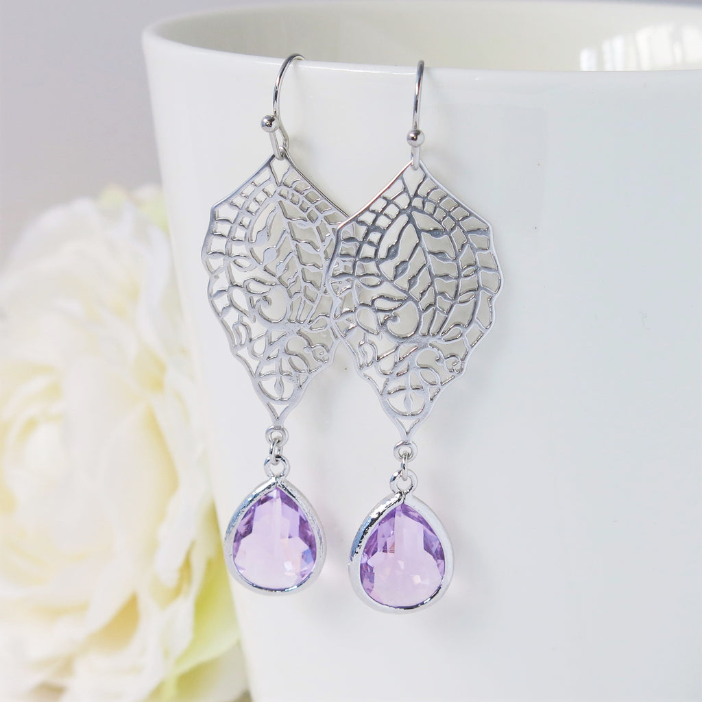 Silver Paisley Filigree Lavender Drop Earrings