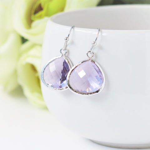 Lavender Silver Drop Earrings #1