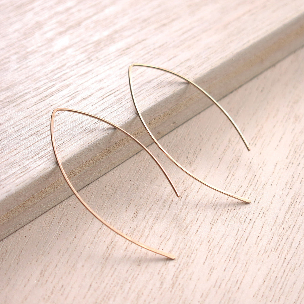 Leaf Curve Gold Hoops