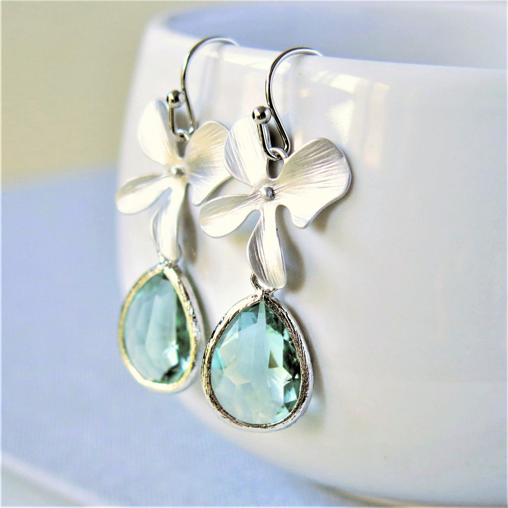 Silver Orchid Prasiolite Green Drop Earrings