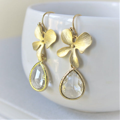Gold Orchid Crystal Drop Earrings