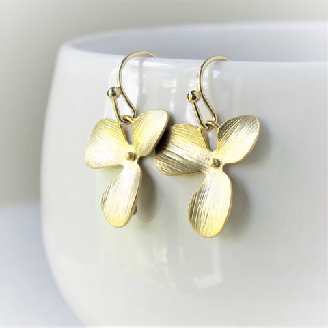 Gold Orchid Earrings #1