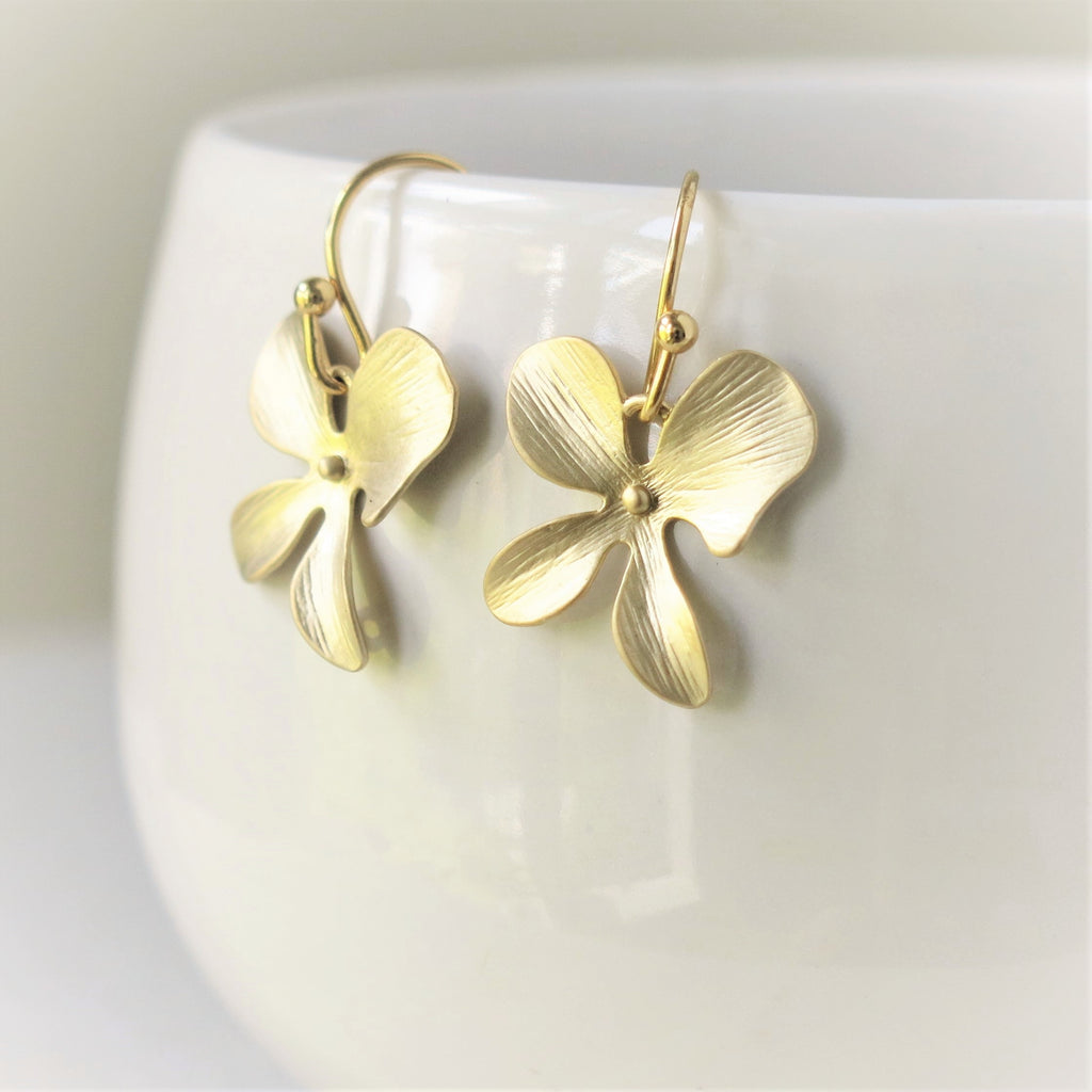 Gold Orchid Earrings #2
