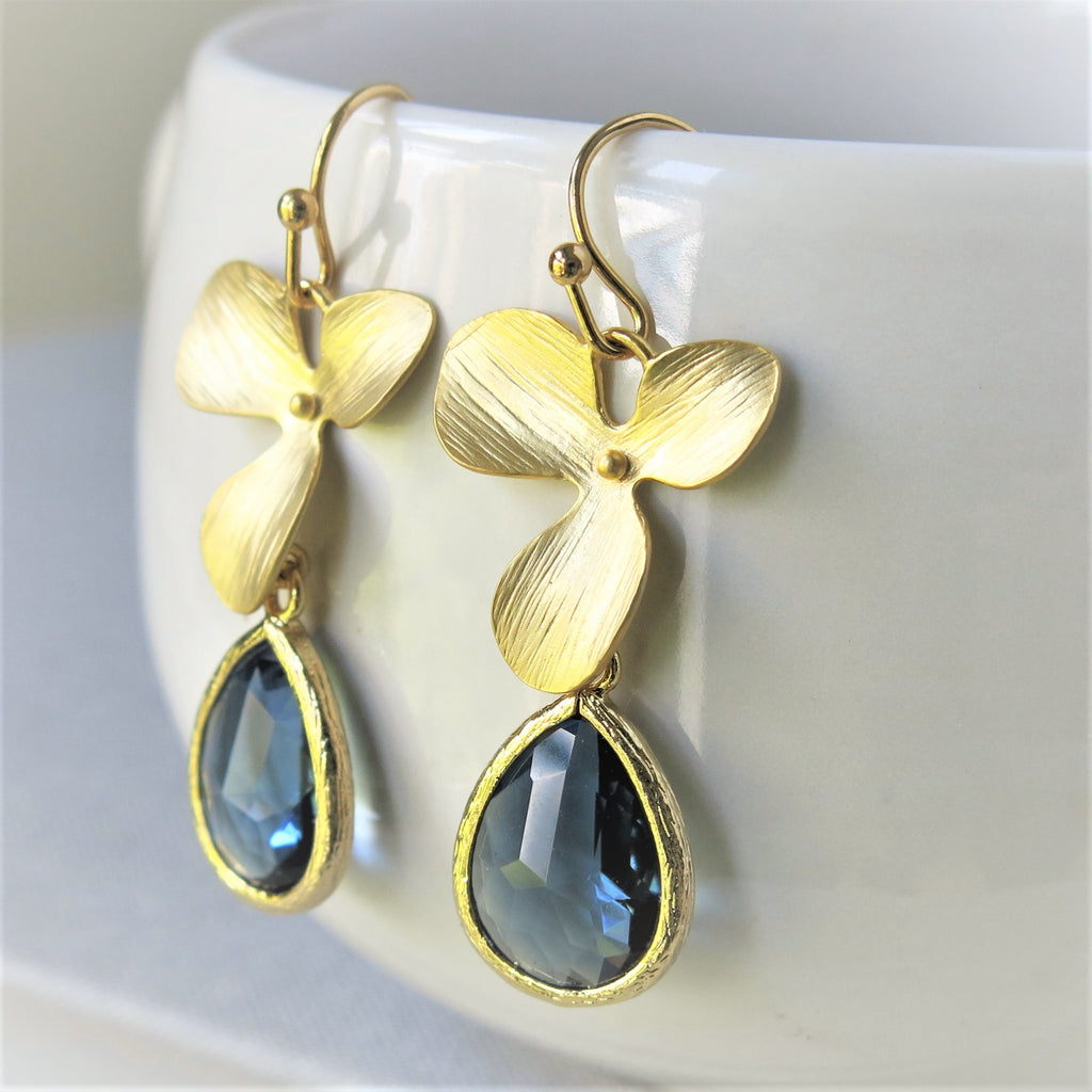Gold Orchid Sapphire Blue Drop Earrings