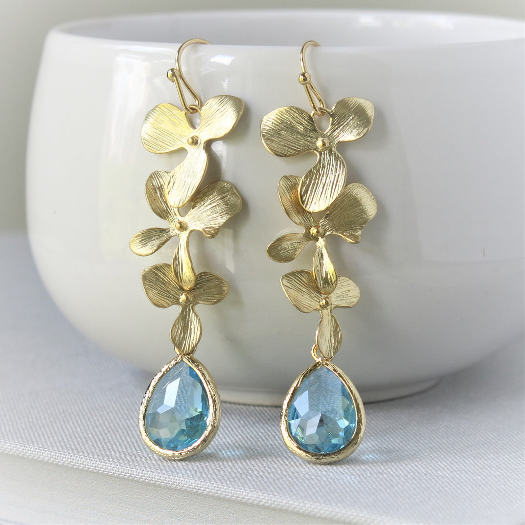 Gold Orchid Cascade Aquamarine Drop Earrings