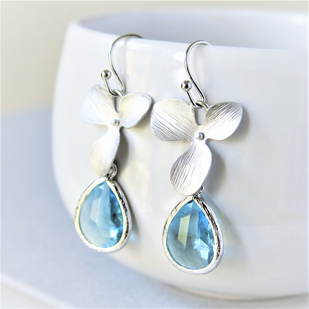 Silver Orchid Aquamarine Drop Earrings