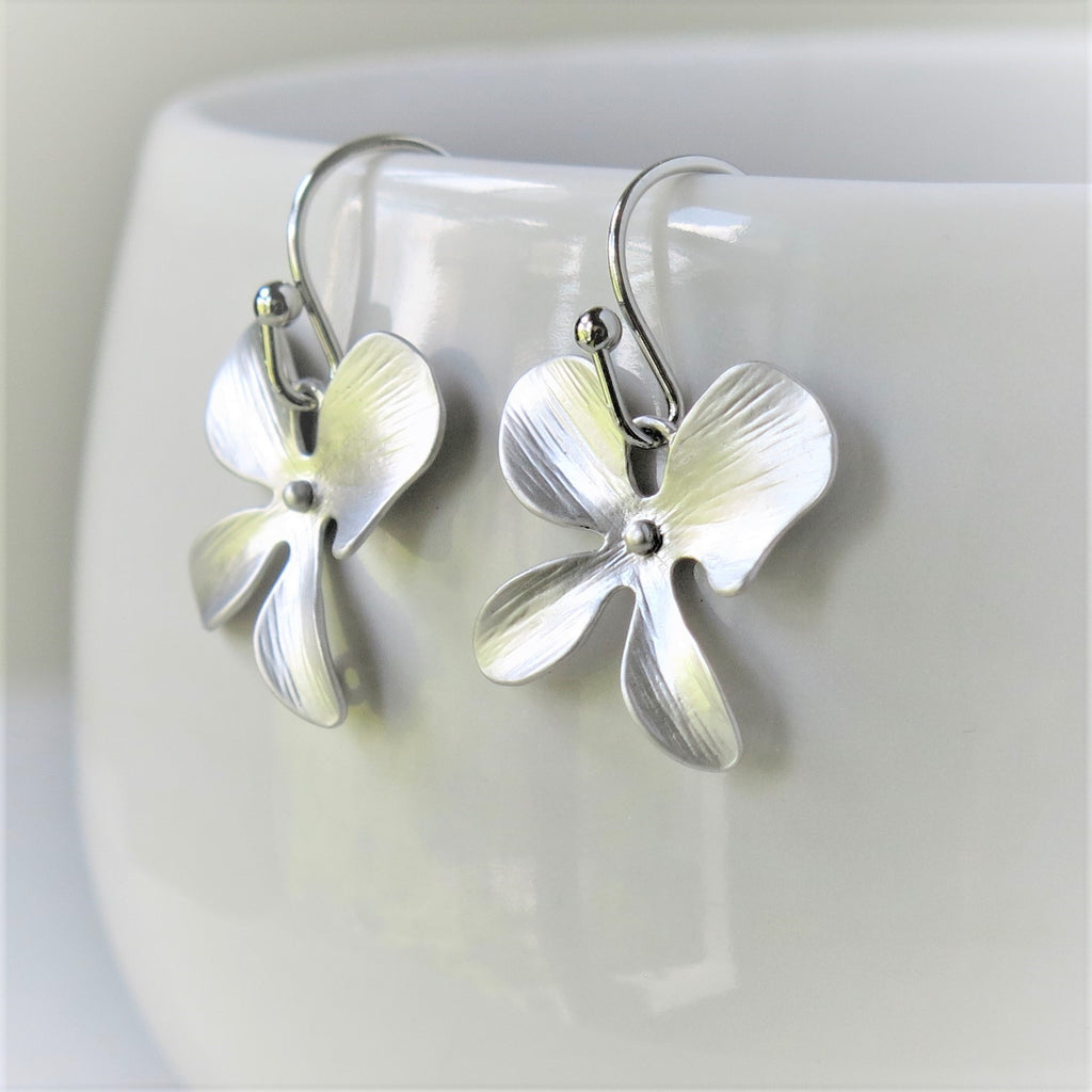Silver Orchid Earrings #2