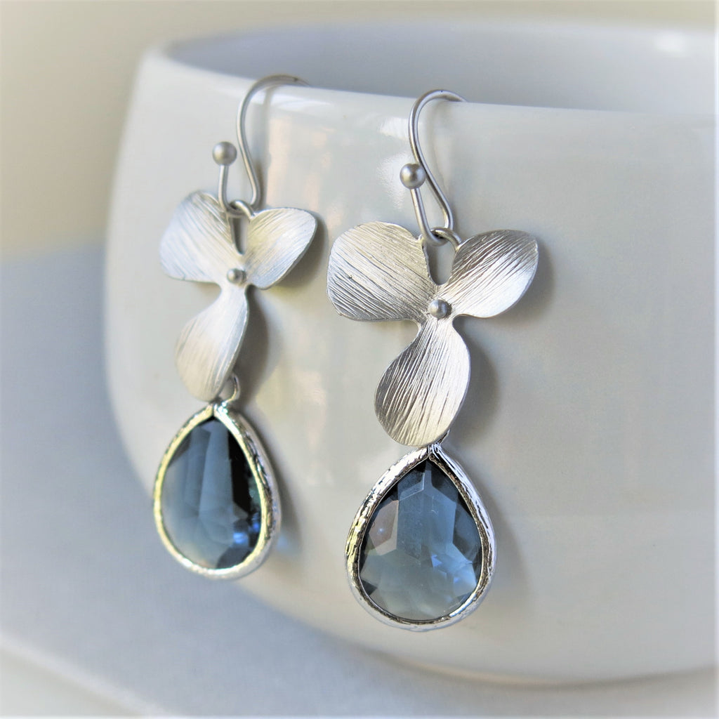 silver orchid earrings glass drop