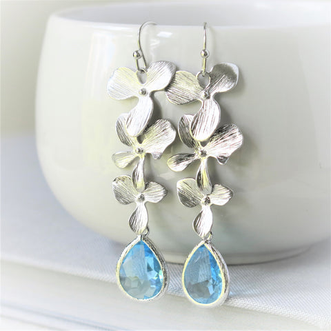 Silver Orchid Cascade Aquamarine Drop Earrings