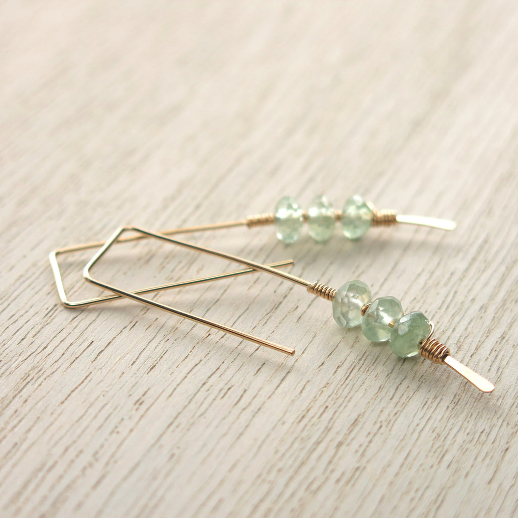 Prehnite Gold Twigs Earrings