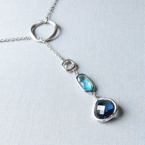 Silver Lariat Necklace - drops of blue
