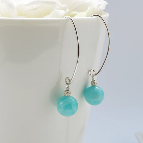 Amazonite silver elongated earrings