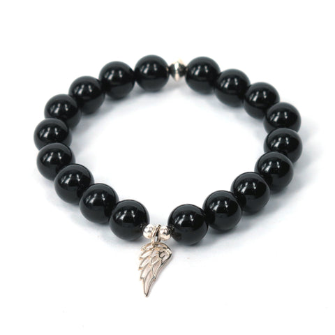 Black Onyx Guardian Angel Bracelet