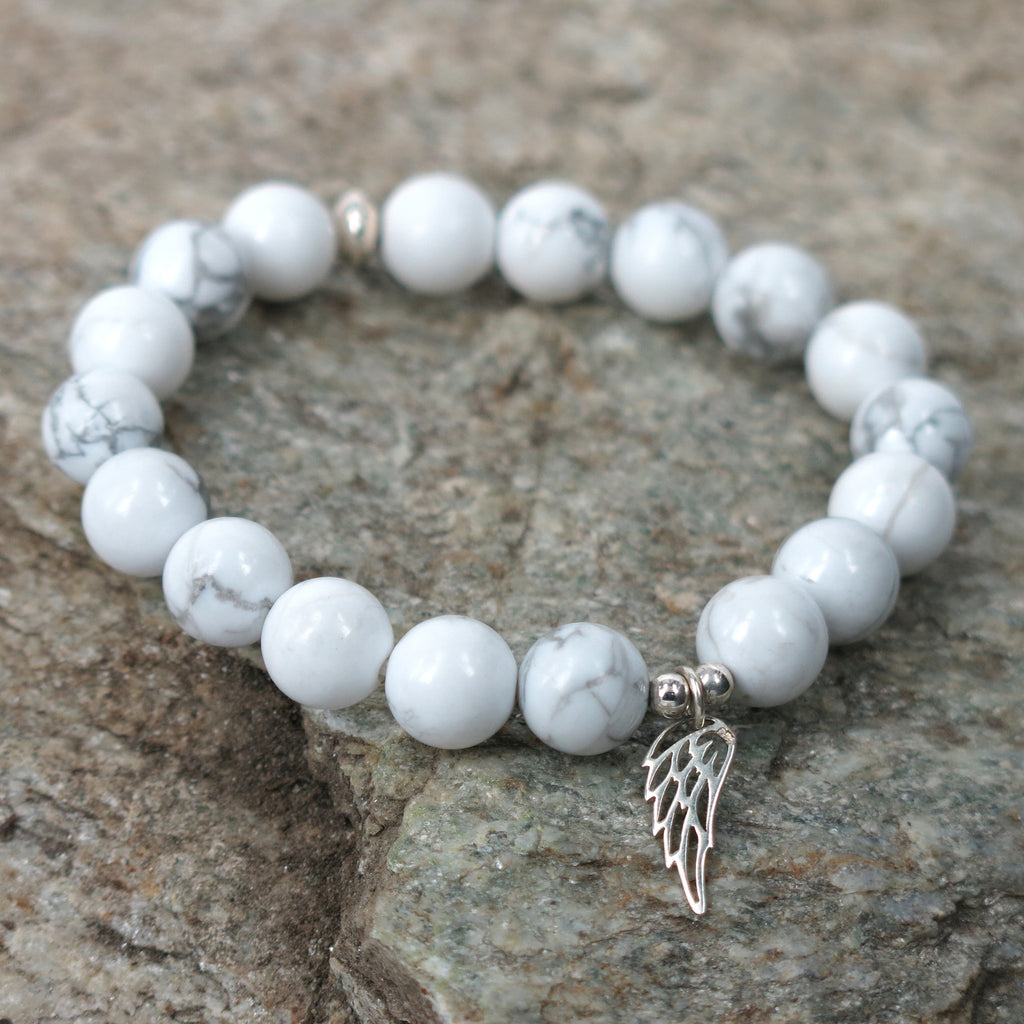 White Howlite Guardian Angel Bracelet