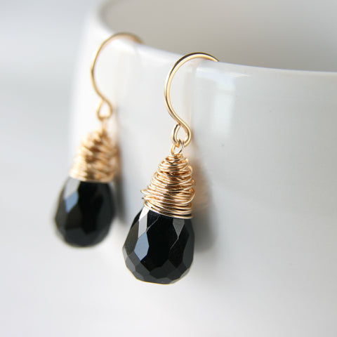 Black Onyx Gold Earrings
