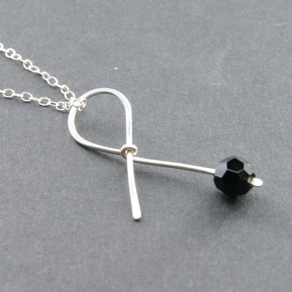 black ribbon necklace gift for survivor patient