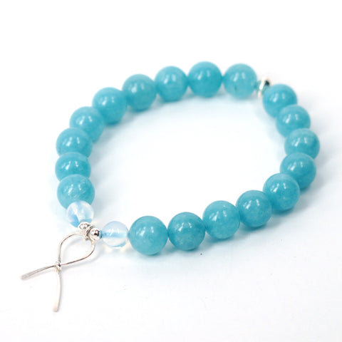 Blue Ribbon Awareness Bracelet (Aquamarine)