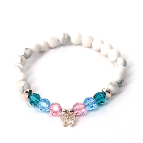 Butterfly Thyroid Cancer Awareness Bead Bracelet