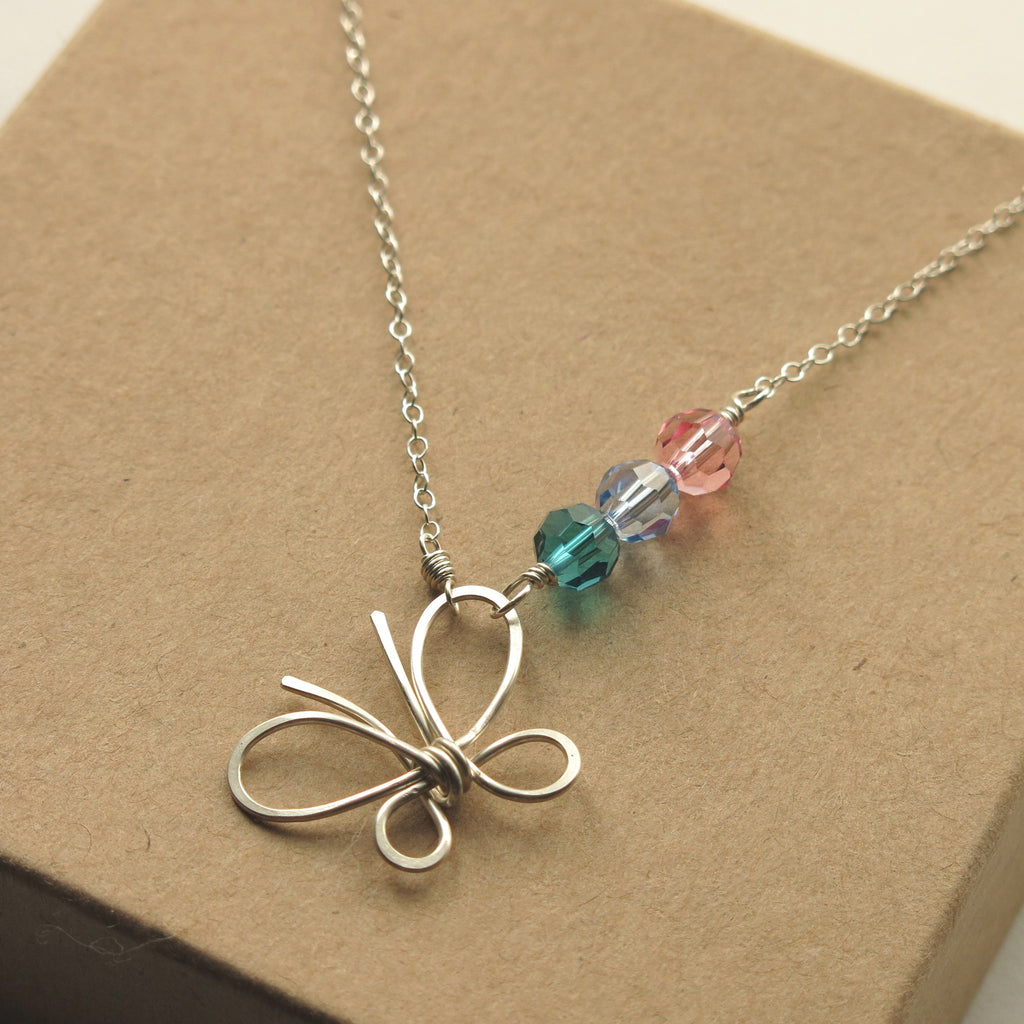 Butterfly Thyroid Cancer Awareness Necklace