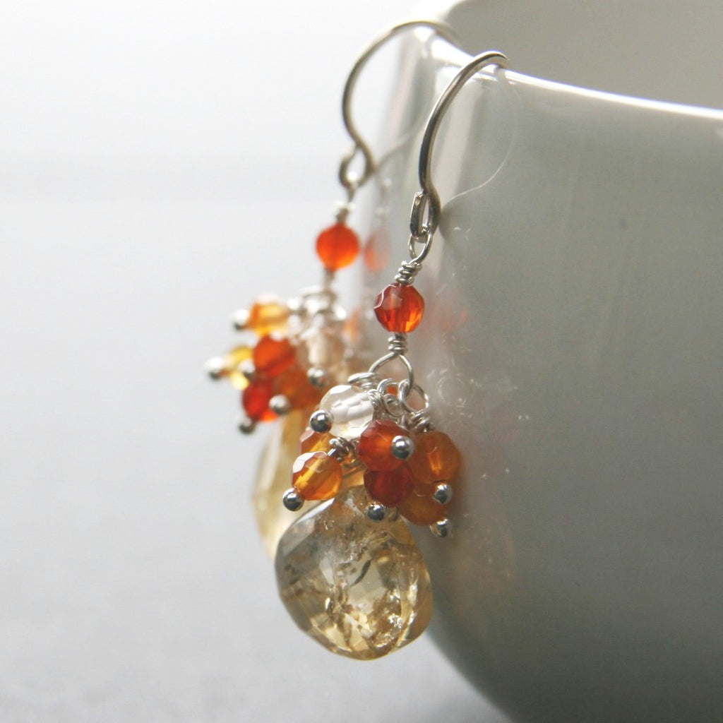 Citrine Carnelian Cluster Earrings