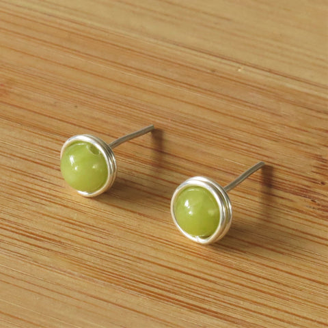 Lime Jade Silver Ear Studs