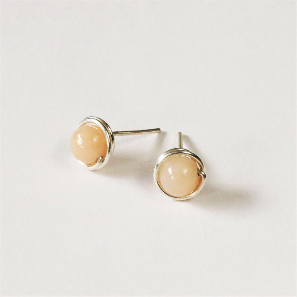 peach agate ear studs