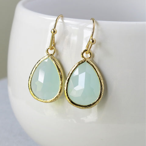 Misty Blue Gold Drop Earrings #2