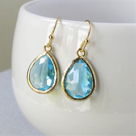 Gold Aquamarine Drop Earrings #2