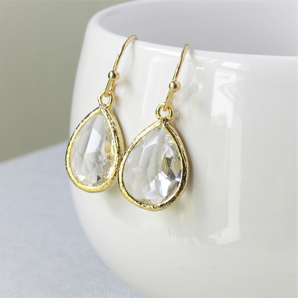 Gold Crystal Drop Earrings #2