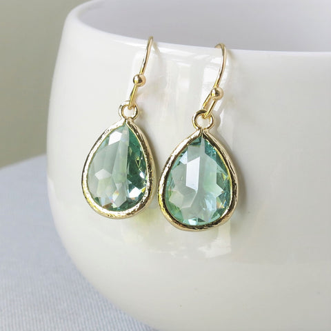 Prasiolite Gold Drop Earrings #2