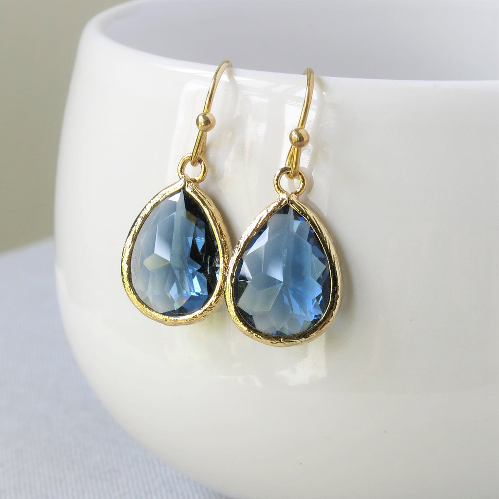 Gold Sapphire Drop Earrings #2