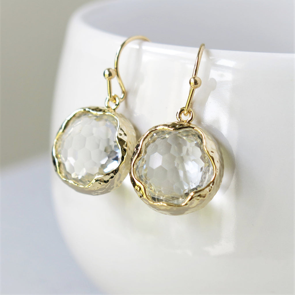 Gold Round Crystal Earrings
