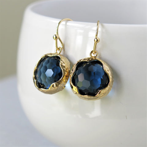 Gold Round Sapphire Blue Earrings