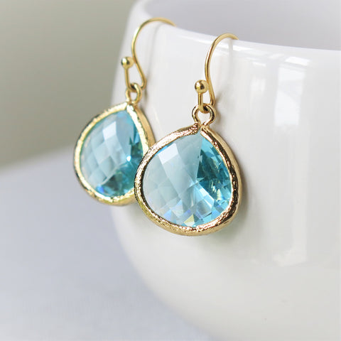 Gold Aquamarine Drop Earrings #1